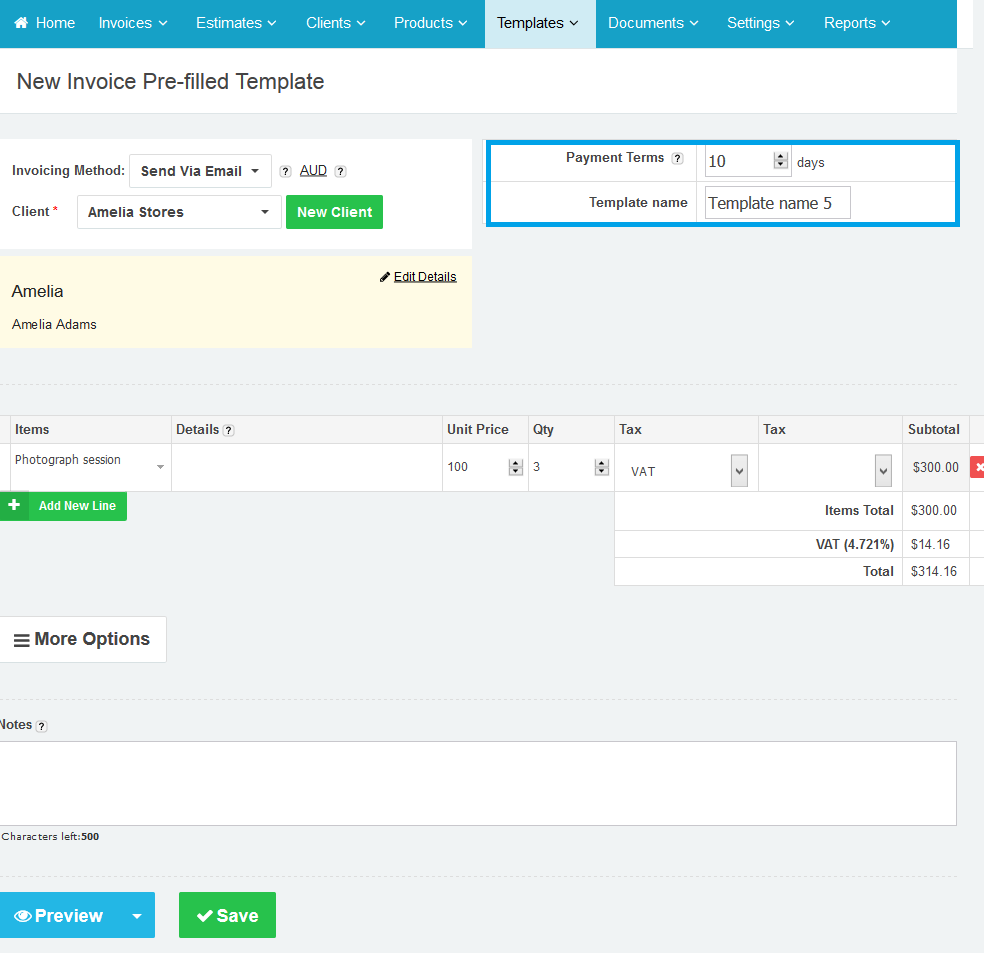Creating Pre Filled Invoice Templates In Online Invoices Online