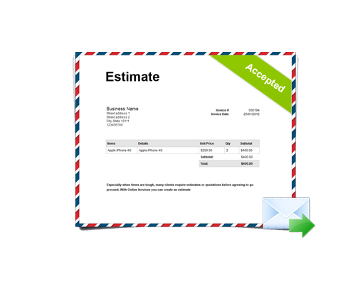 Estimates management and invoicing